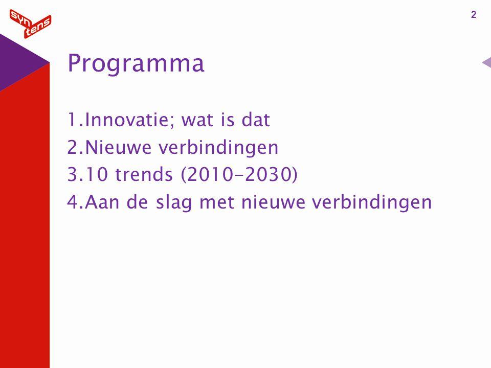 Programma Innovatie; wat is dat Nieuwe verbindingen