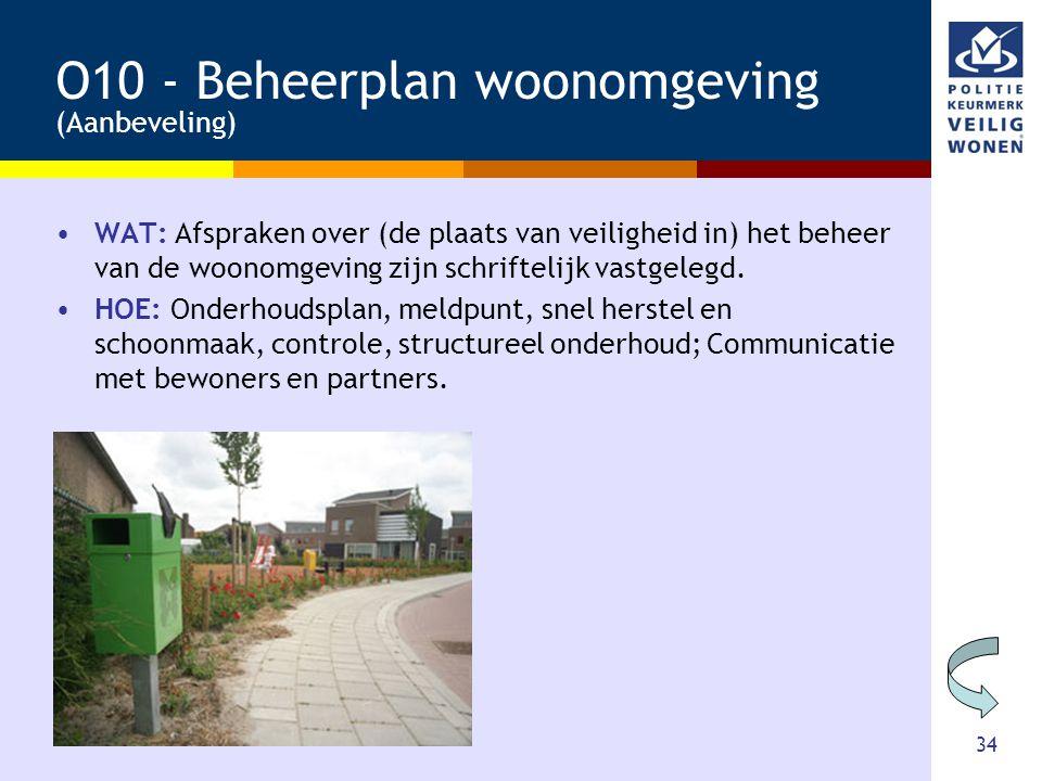 O10 - Beheerplan woonomgeving (Aanbeveling)