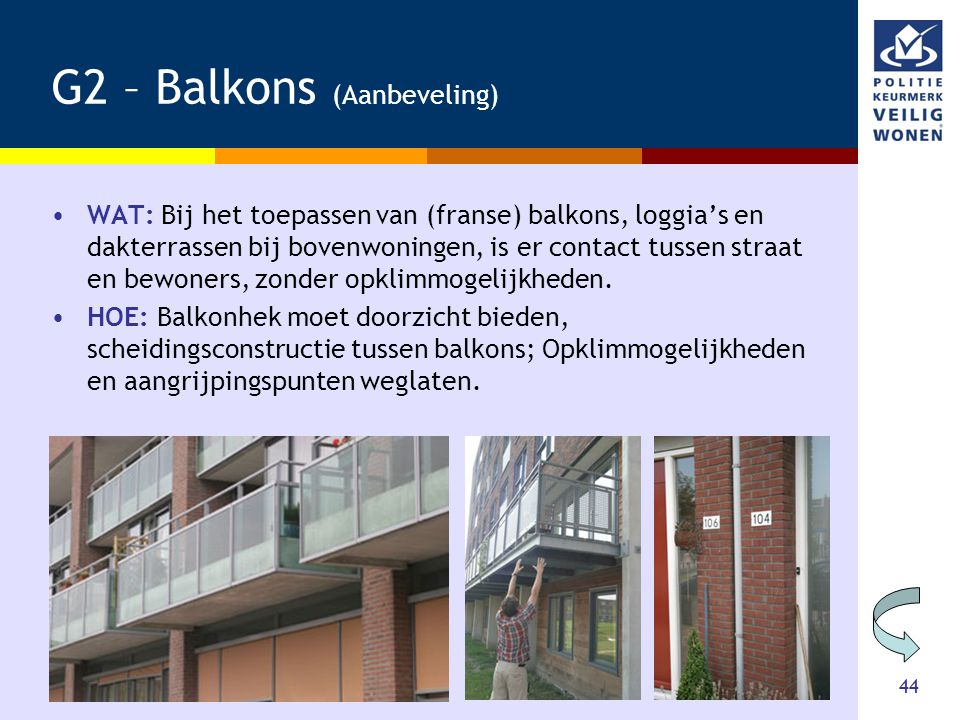 G2 – Balkons (Aanbeveling)