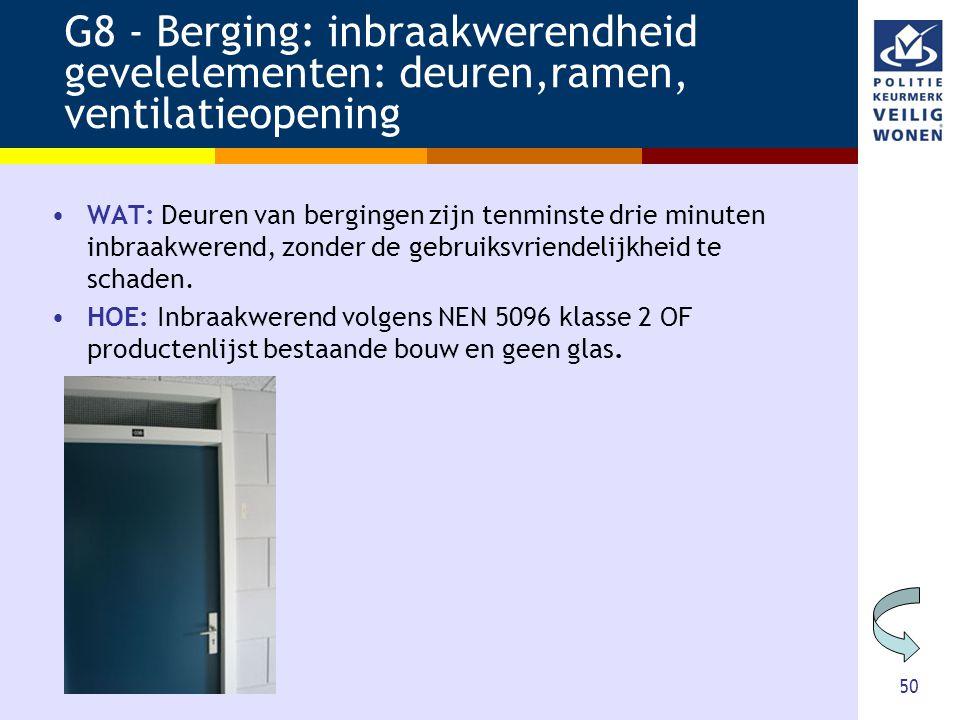 G8 - Berging: inbraakwerendheid gevelelementen: deuren,ramen, ventilatieopening