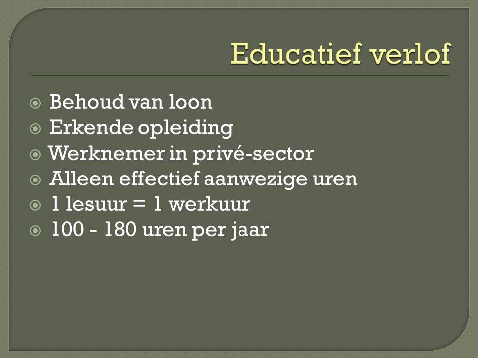 Educatief verlof Behoud van loon Erkende opleiding