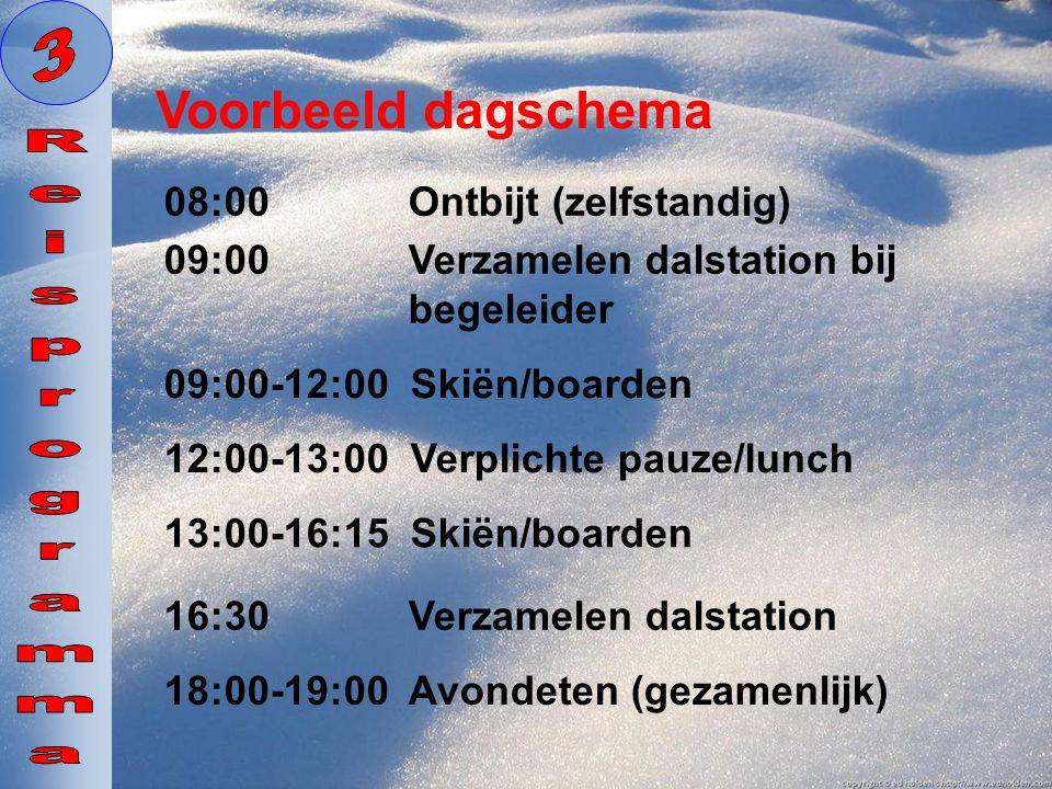 3 Voorbeeld dagschema Reisprogramma 08:00 Ontbijt (zelfstandig)