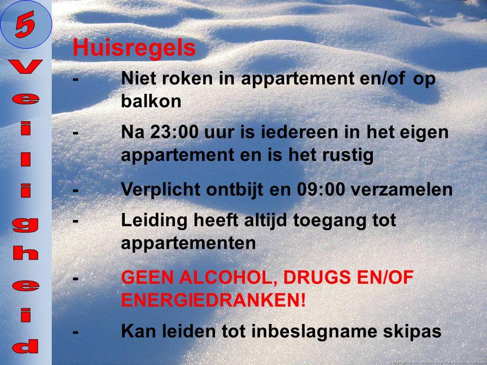 5 Huisregels Veiligheid - Niet roken in appartement en/of op balkon