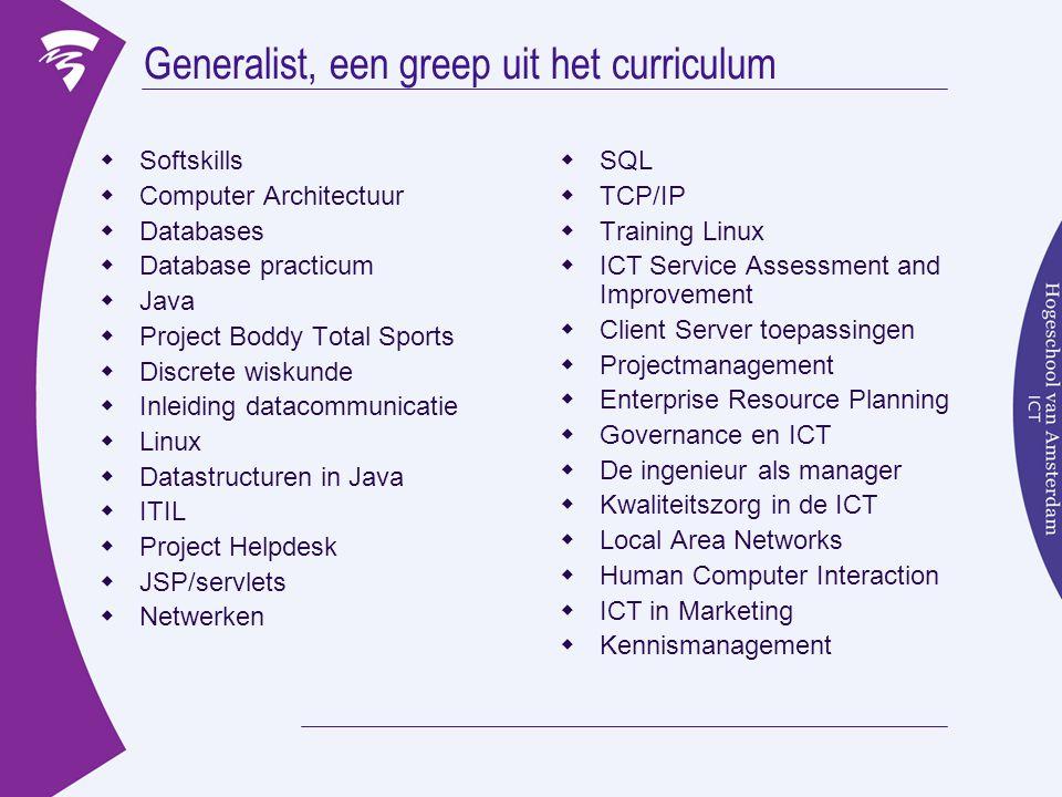 Generalist, een greep uit het curriculum