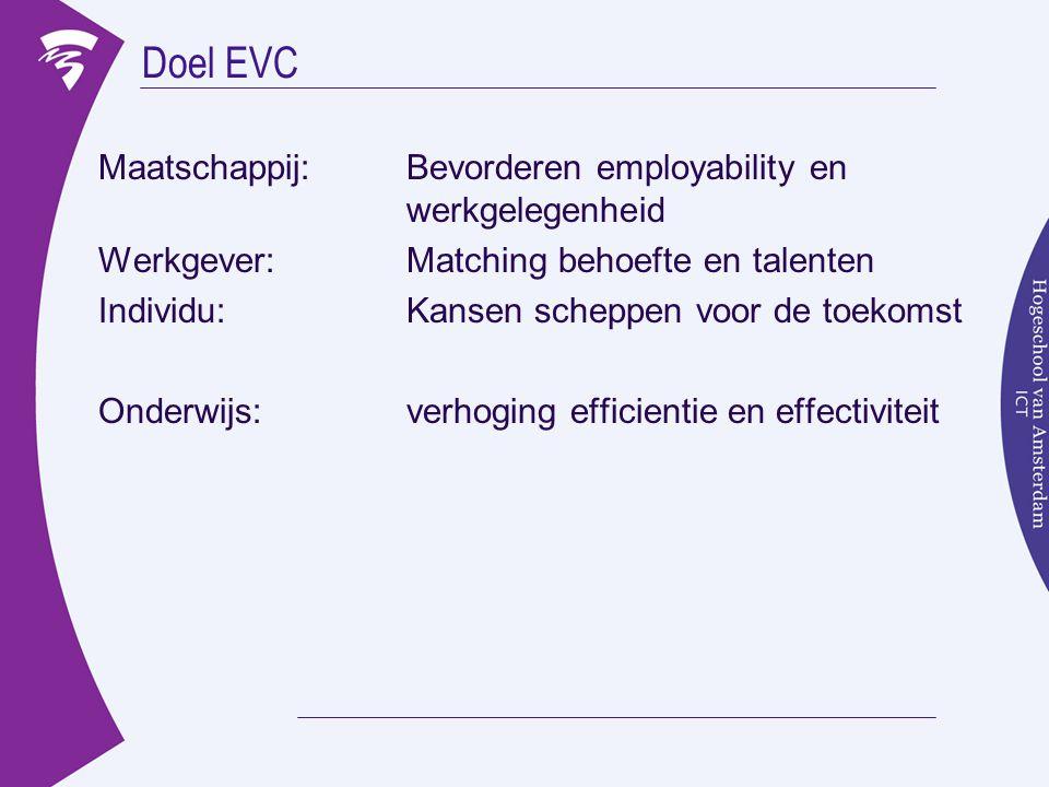 Doel EVC Maatschappij: Bevorderen employability en werkgelegenheid