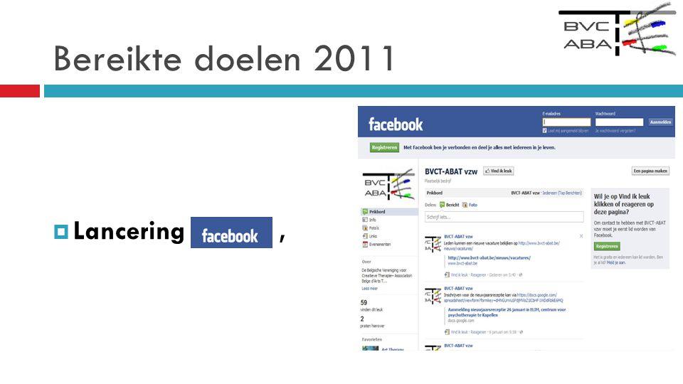 Bereikte doelen 2011 Lancering ,