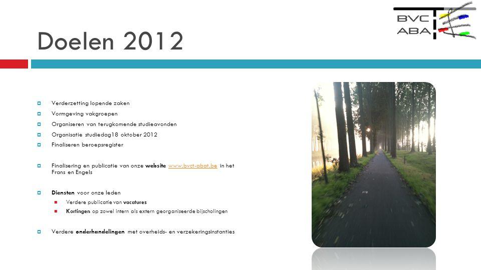Doelen 2012 Verderzetting lopende zaken Vormgeving vakgroepen