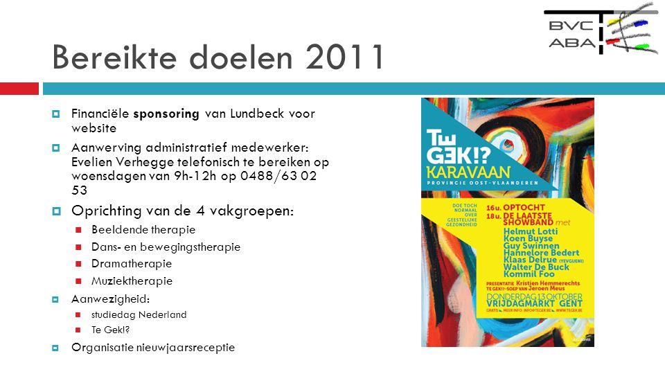 Bereikte doelen 2011 Oprichting van de 4 vakgroepen: