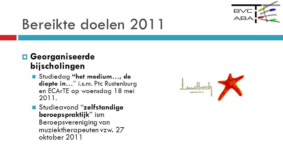 Bereikte doelen 2011 Georganiseerde bijscholingen
