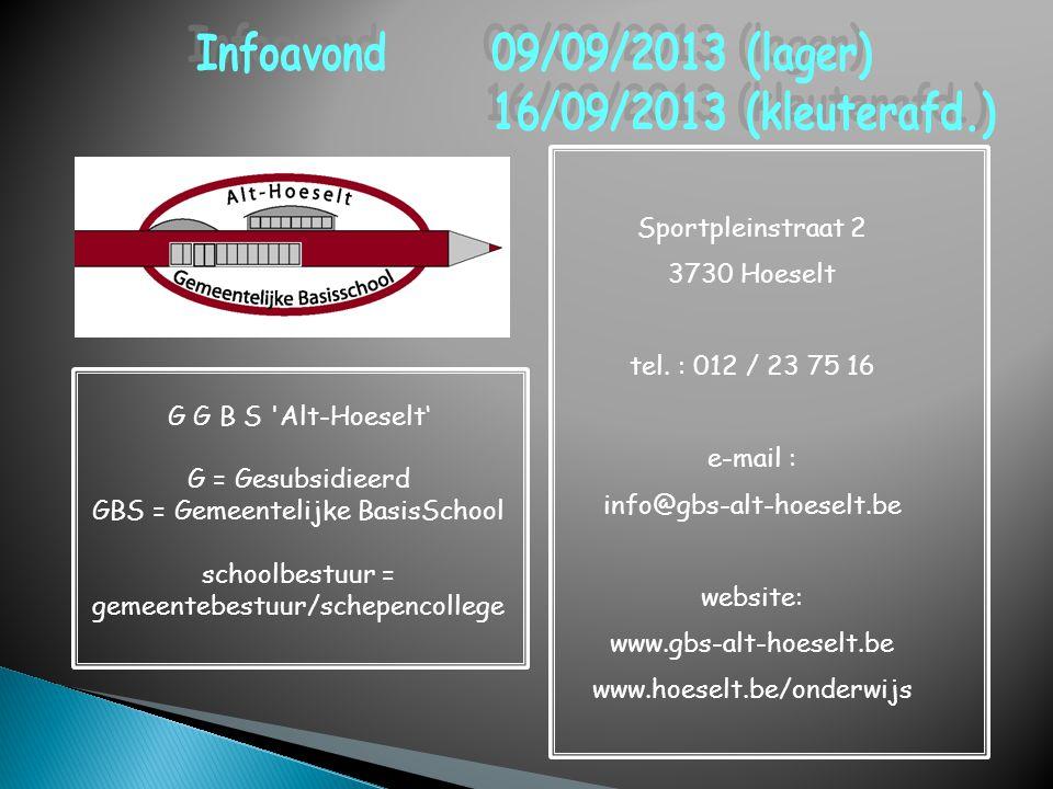 Infoavond 09/09/2013 (lager) 16/09/2013 (kleuterafd.)