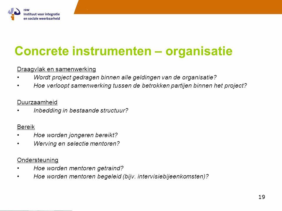 Concrete instrumenten – organisatie