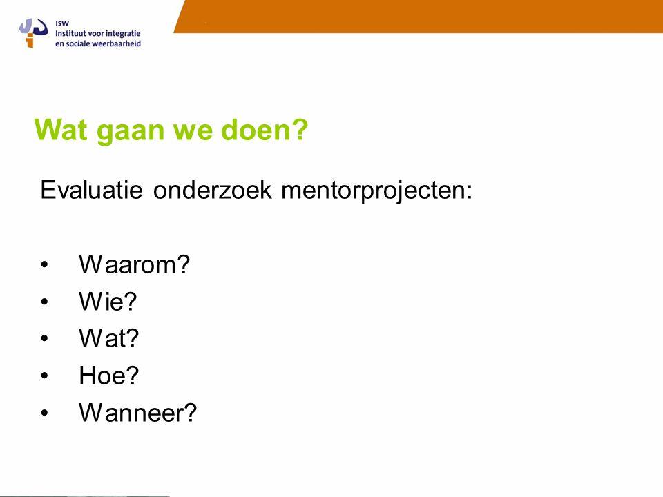 Wat gaan we doen Evaluatie onderzoek mentorprojecten: Waarom Wie