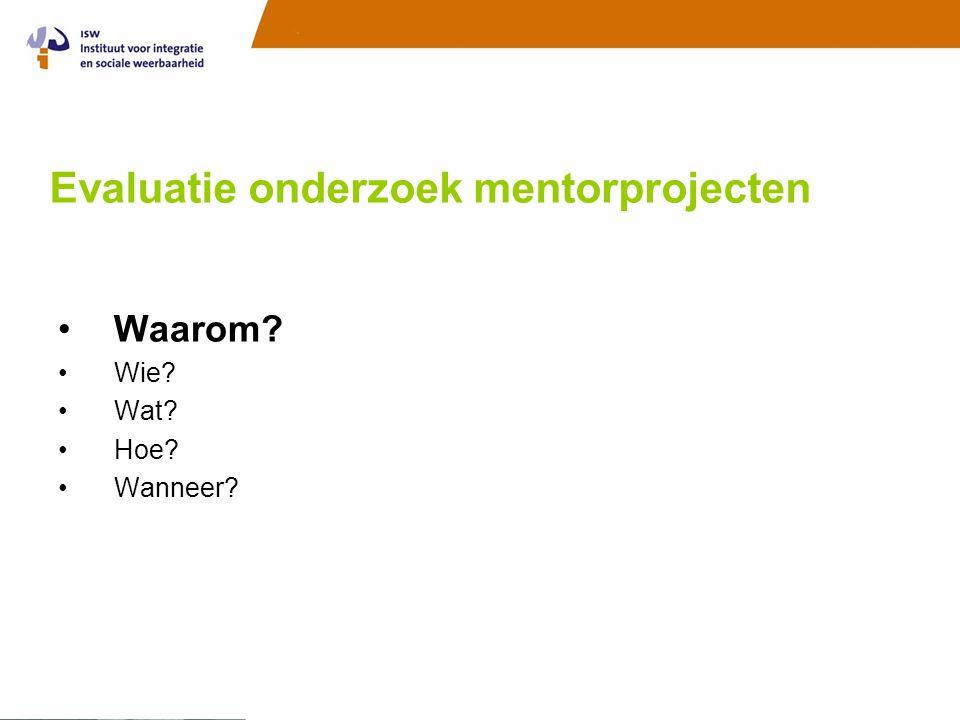 Evaluatie onderzoek mentorprojecten