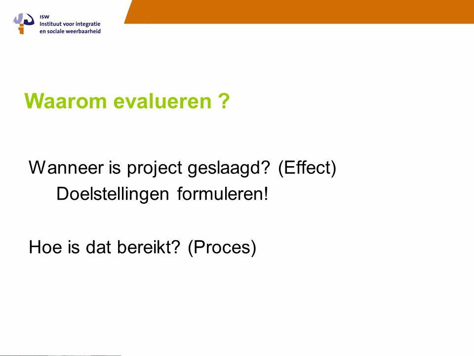 Waarom evalueren . Wanneer is project geslaagd. (Effect) Doelstellingen formuleren.
