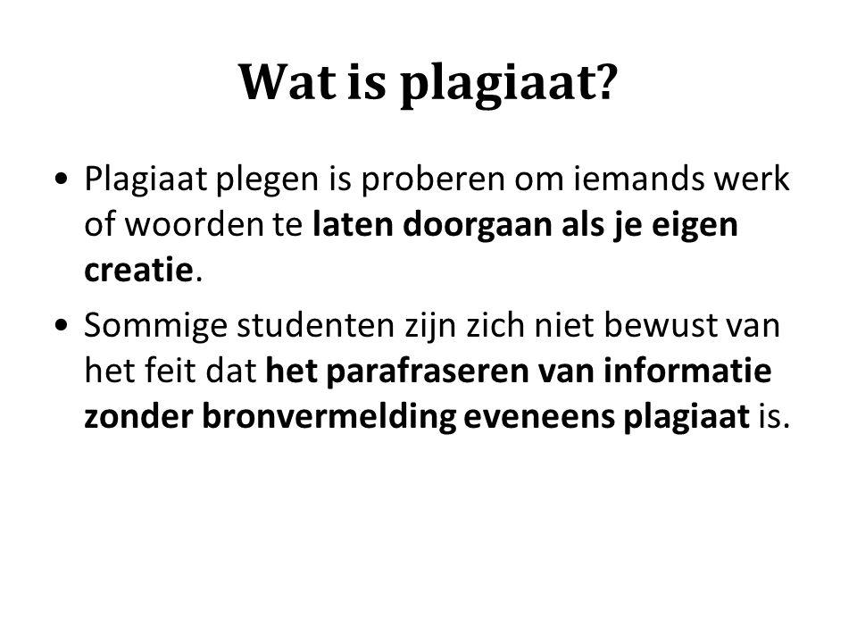 Wat is plagiaat Plagiaat plegen is proberen om iemands werk of woorden te laten doorgaan als je eigen creatie.