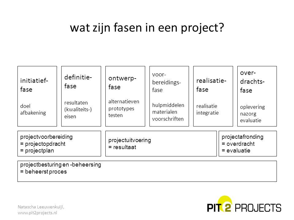 wat zijn fasen in een project