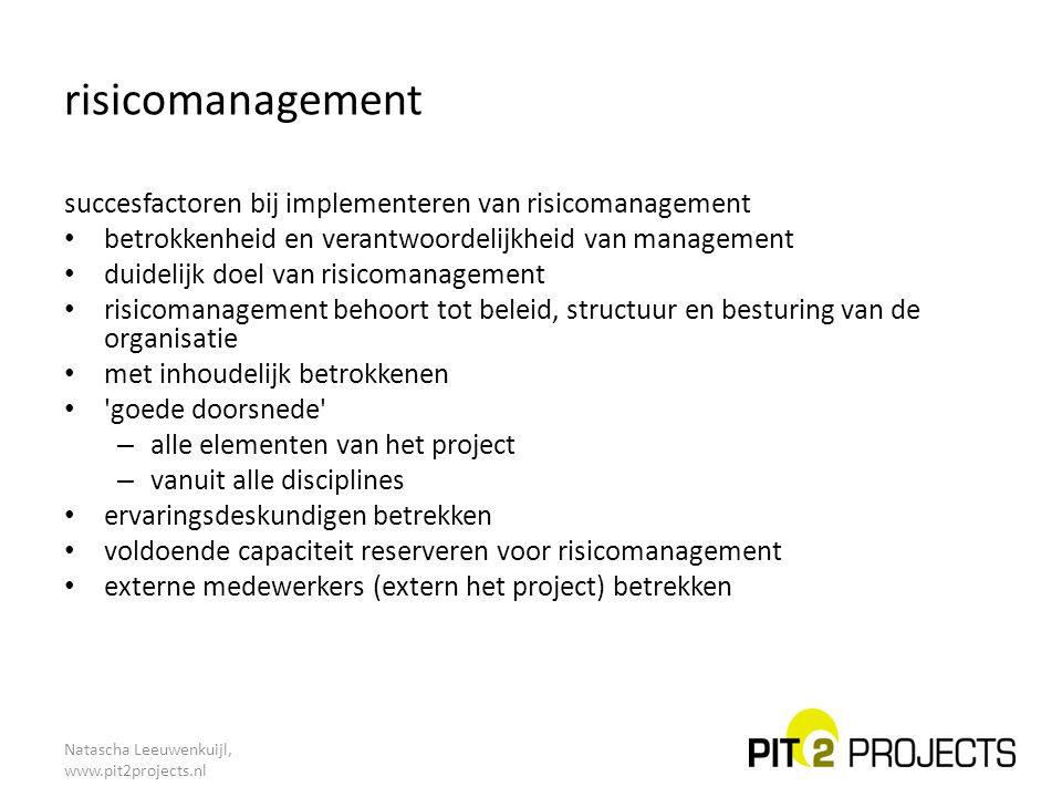 risicomanagement succesfactoren bij implementeren van risicomanagement