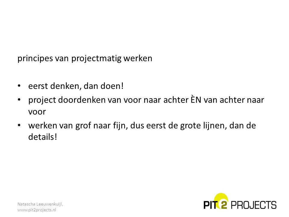 principes van projectmatig werken eerst denken, dan doen!