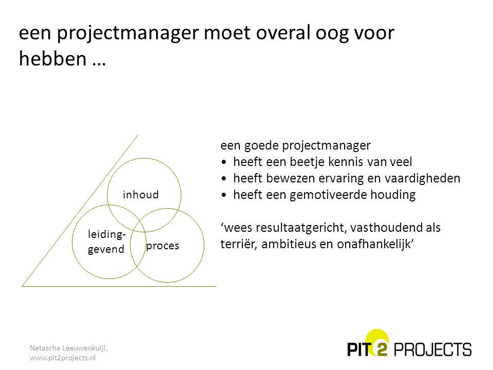 een projectmanager moet overal oog voor hebben …