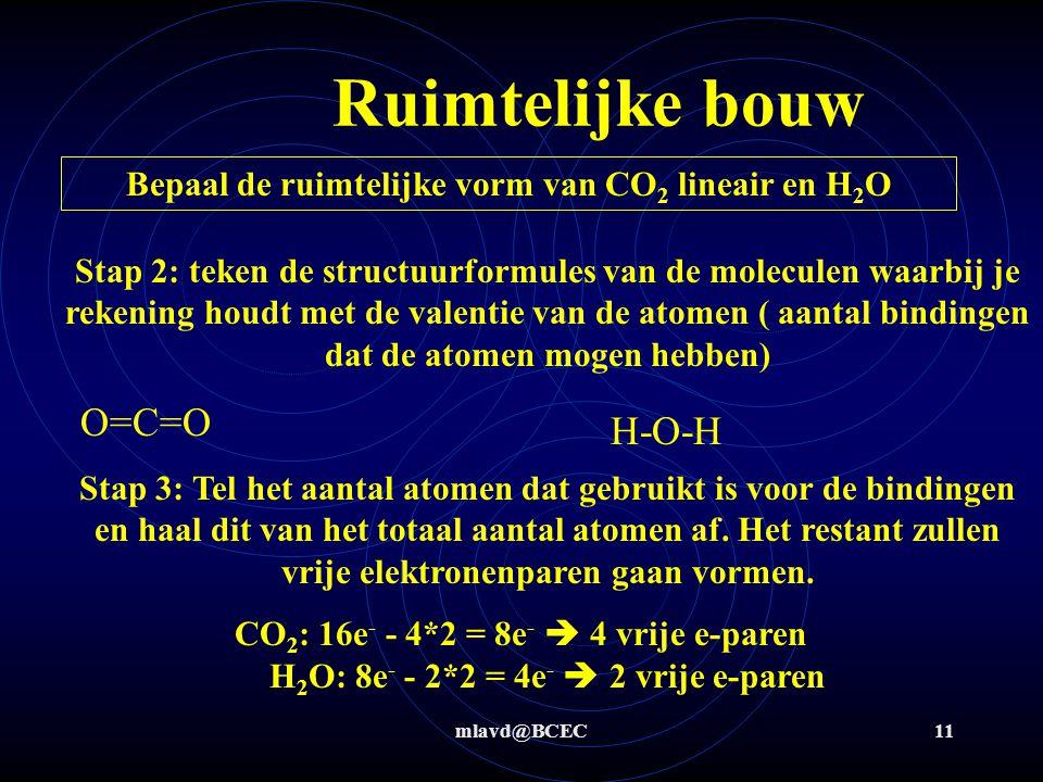 Bepaal de ruimtelijke vorm van CO2 lineair en H2O