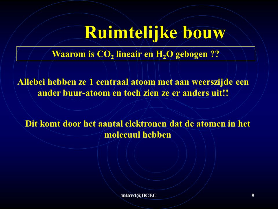 Waarom is CO2 lineair en H2O gebogen