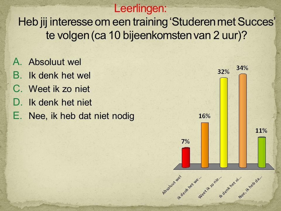Leerlingen: Heb jij interesse om een training 'Studeren met Succes' te volgen (ca 10 bijeenkomsten van 2 uur)
