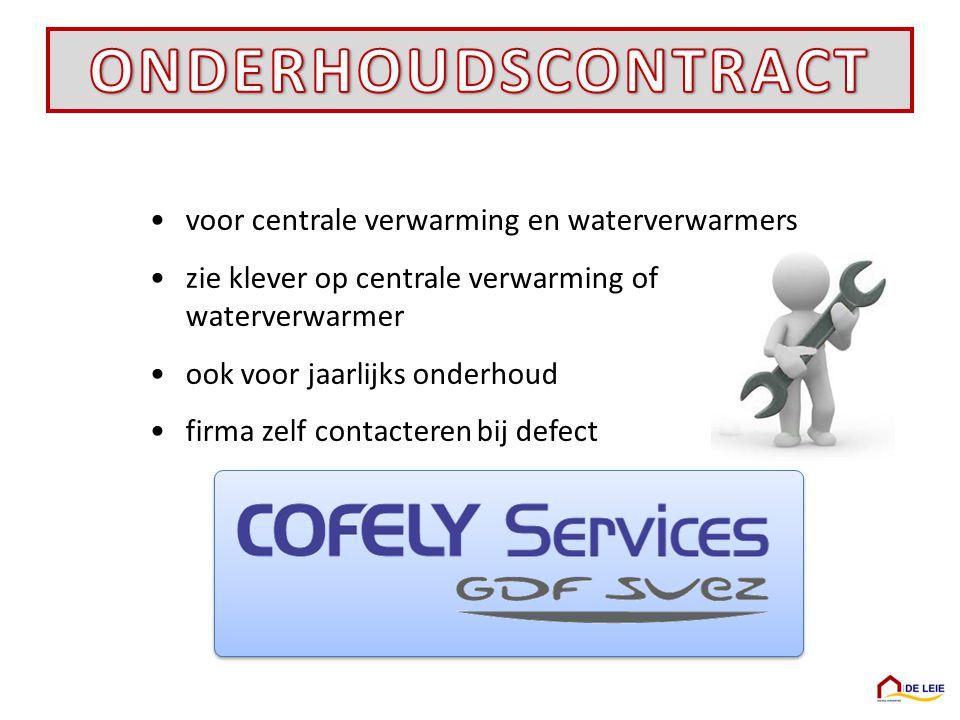 ONDERHOUDSCONTRACT voor centrale verwarming en waterverwarmers