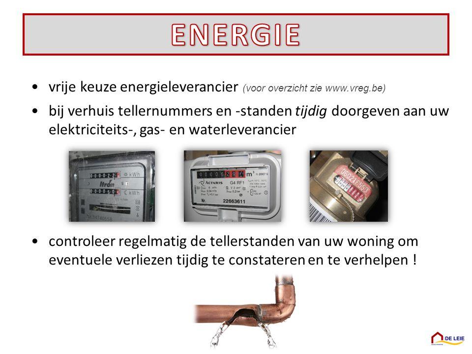 ENERGIE vrije keuze energieleverancier (voor overzicht zie www.vreg.be)