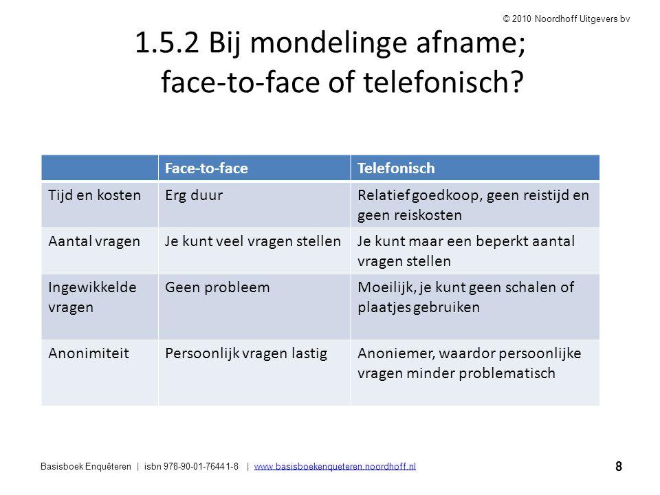 1.5.2 Bij mondelinge afname; face-to-face of telefonisch