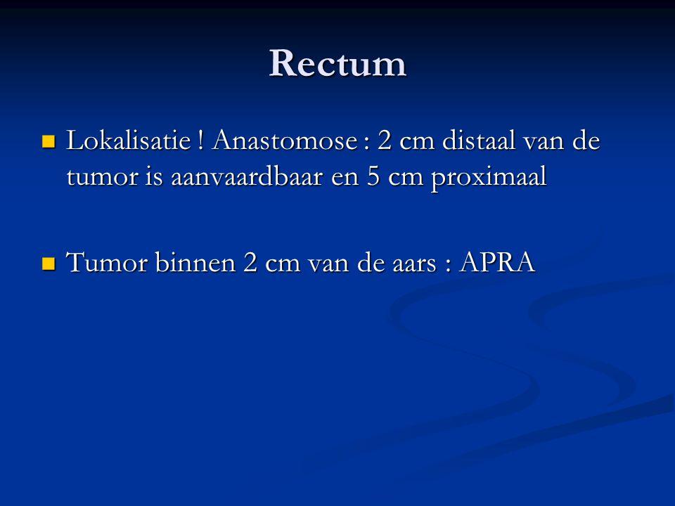 Rectum Lokalisatie . Anastomose : 2 cm distaal van de tumor is aanvaardbaar en 5 cm proximaal.