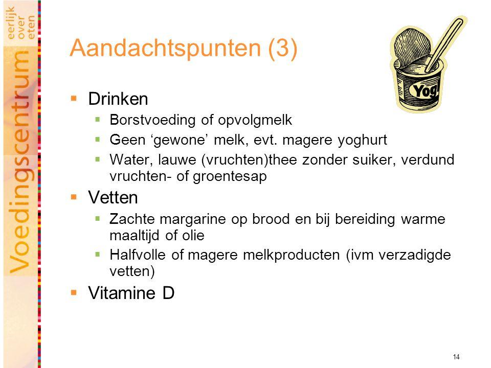 Aandachtspunten (3) Drinken Vetten Vitamine D