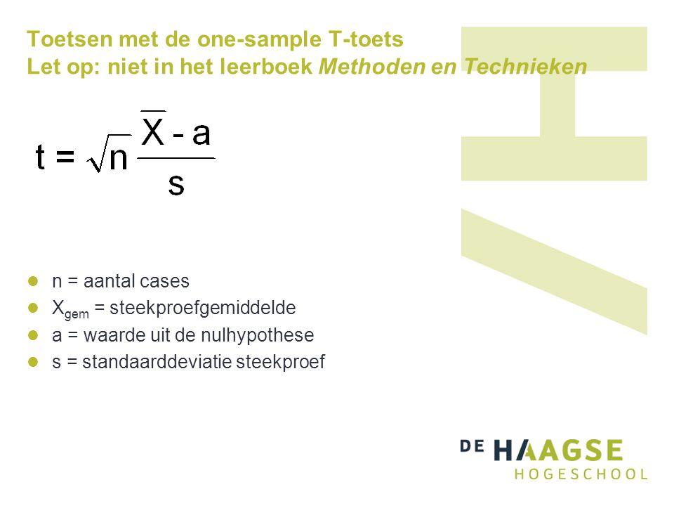 Toetsen met de one-sample T-toets Let op: niet in het leerboek Methoden en Technieken