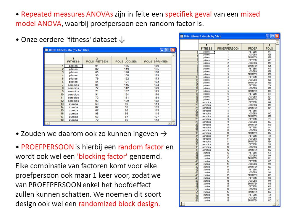 • Repeated measures ANOVAs zijn in feite een specifiek geval van een mixed model ANOVA, waarbij proefpersoon een random factor is.