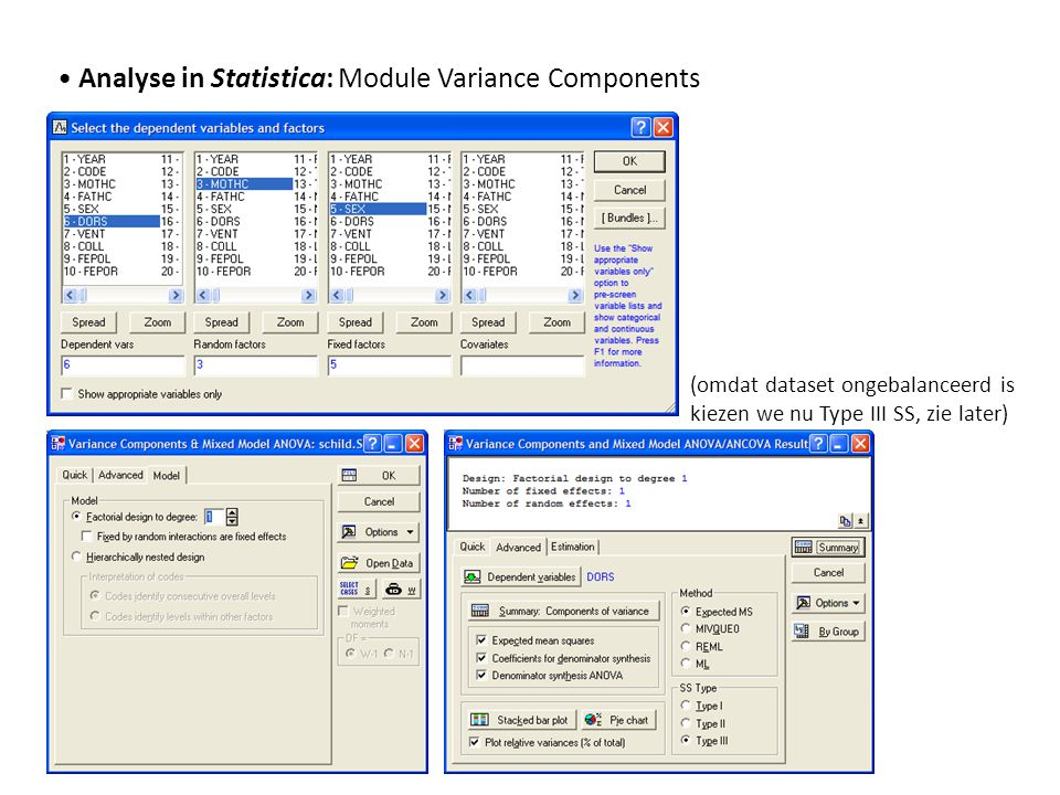 • Analyse in Statistica: Module Variance Components