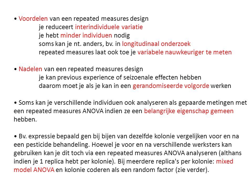 • Voordelen van een repeated measures design