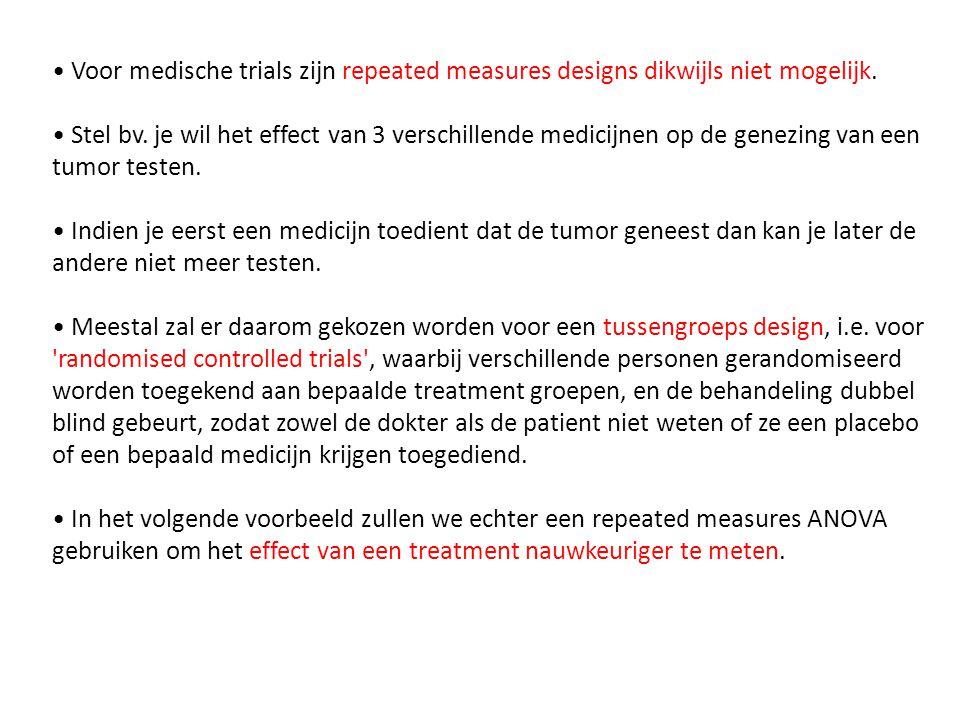 • Voor medische trials zijn repeated measures designs dikwijls niet mogelijk.