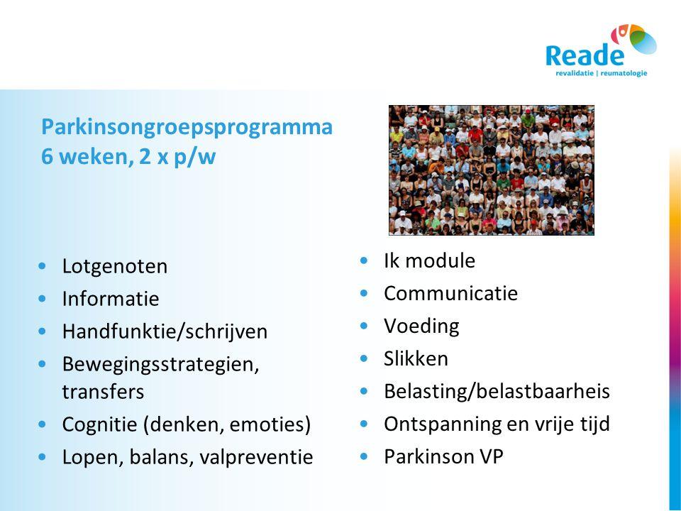 Parkinsongroepsprogramma 6 weken, 2 x p/w