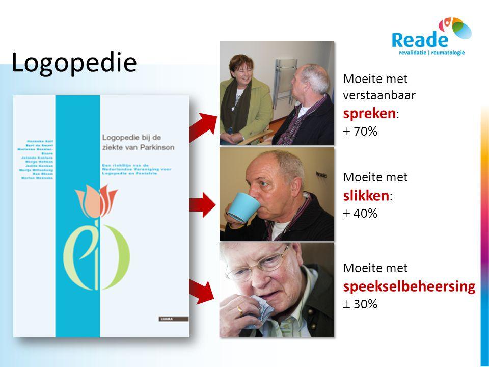 Logopedie Moeite met verstaanbaar spreken: ± 70% Moeite met slikken: