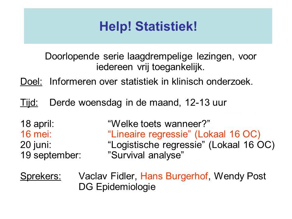 Help! Statistiek! Doorlopende serie laagdrempelige lezingen, voor iedereen vrij toegankelijk.