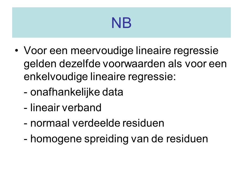 NB Voor een meervoudige lineaire regressie gelden dezelfde voorwaarden als voor een enkelvoudige lineaire regressie: