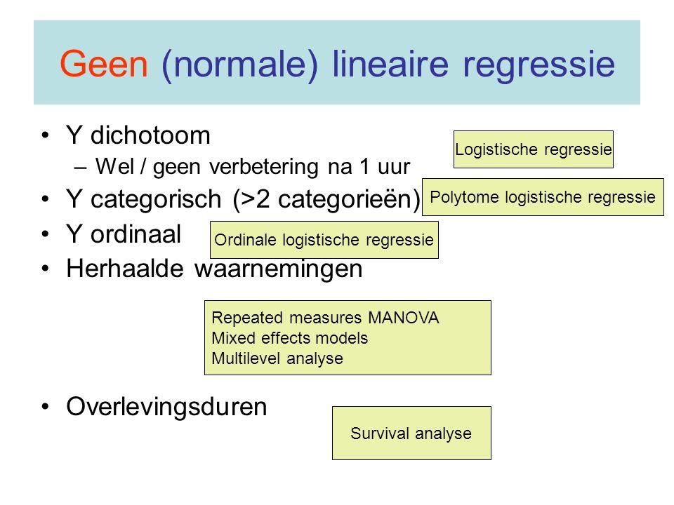 Geen (normale) lineaire regressie