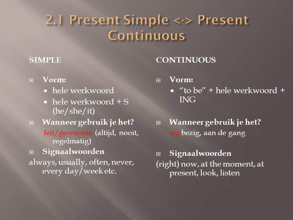 2.1 Present Simple <-> Present Continuous