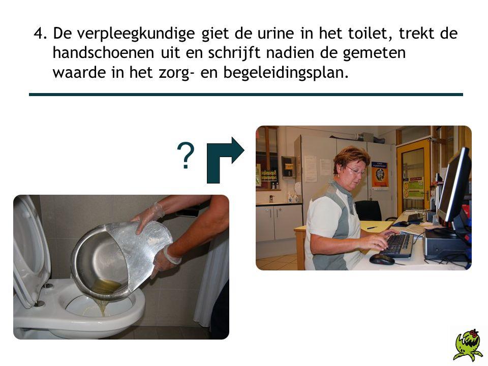 4. De verpleegkundige giet de urine in het toilet, trekt de handschoenen uit en schrijft nadien de gemeten waarde in het zorg- en begeleidingsplan.