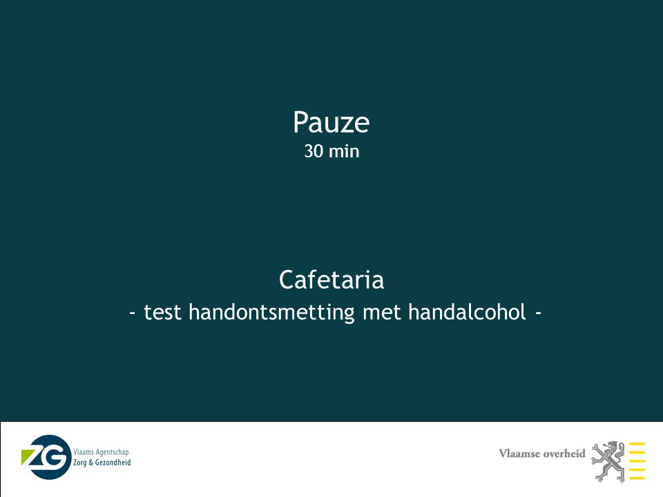 Cafetaria - test handontsmetting met handalcohol -