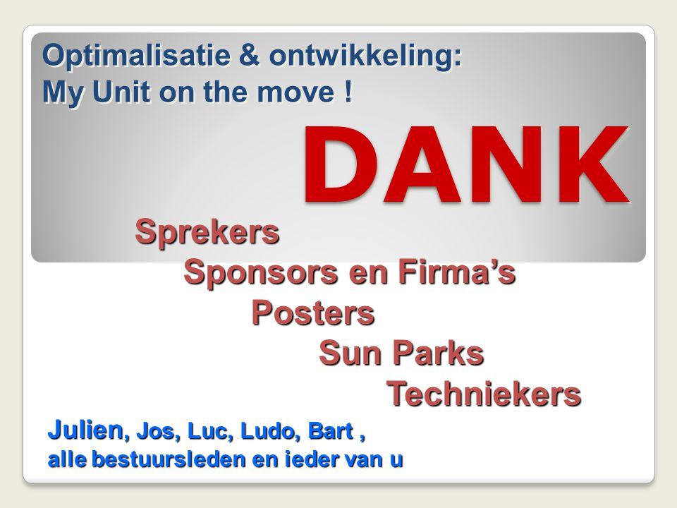 DANK Sprekers Sponsors en Firma's Posters Sun Parks Techniekers