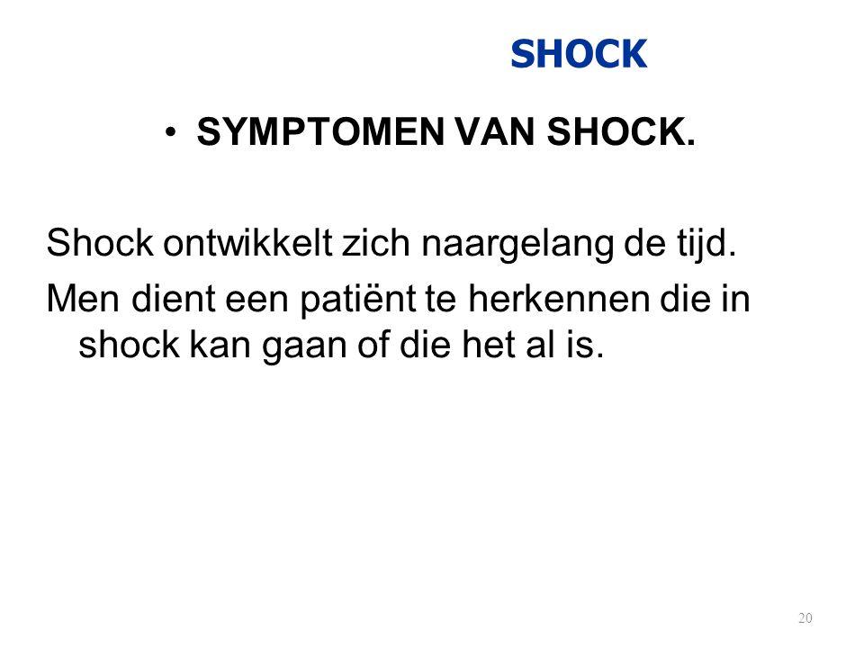 Shock ontwikkelt zich naargelang de tijd.