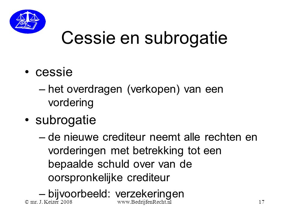 Cessie en subrogatie cessie subrogatie