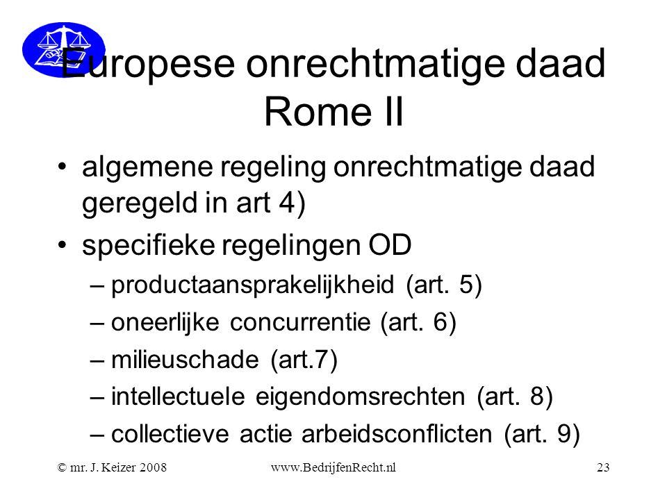 Europese onrechtmatige daad Rome II