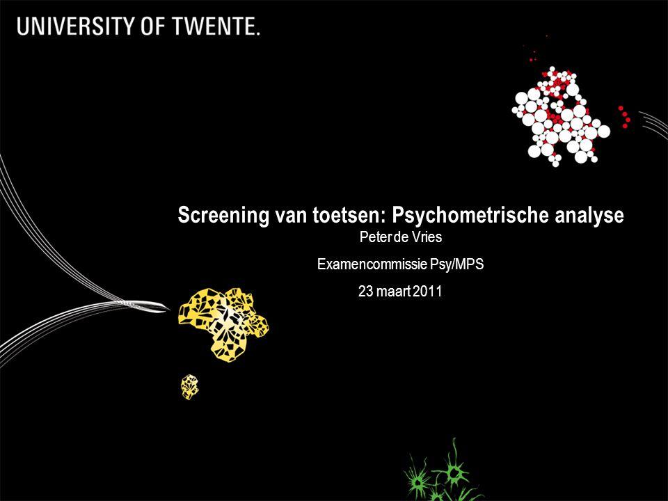 Screening van toetsen: Psychometrische analyse