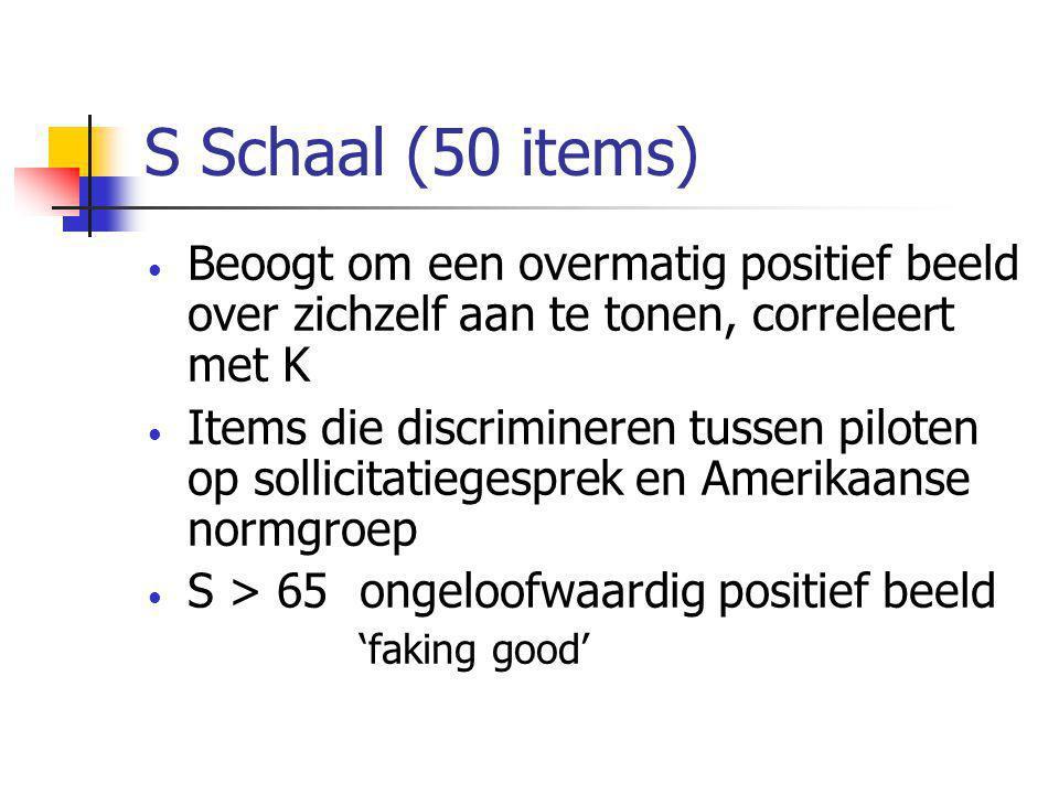 S Schaal (50 items) Beoogt om een overmatig positief beeld over zichzelf aan te tonen, correleert met K.